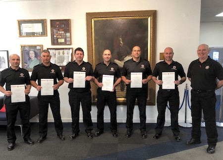 From left to right – Station Officers Edgar Ramirez, Jason Mesilio & George Buns, Sub Officers Nicholas Poggio, Divisional Officer Matthew Payas and course Instructor Keith Bell