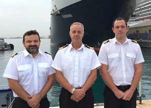 (from left to right :  Port Officer Paul Howard, Commodore Bob Sanguinetti – CEO and Captain of the Port, Port Officer Stefan Rothwell)