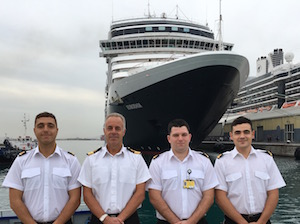 (from left to right: VTS Operative Kyle Sivers, Commodore Bob Sanguinetti – CEO and Captain of the Port, VTS Operative Sean Robba and VTS Operative Yannick Baglietto)