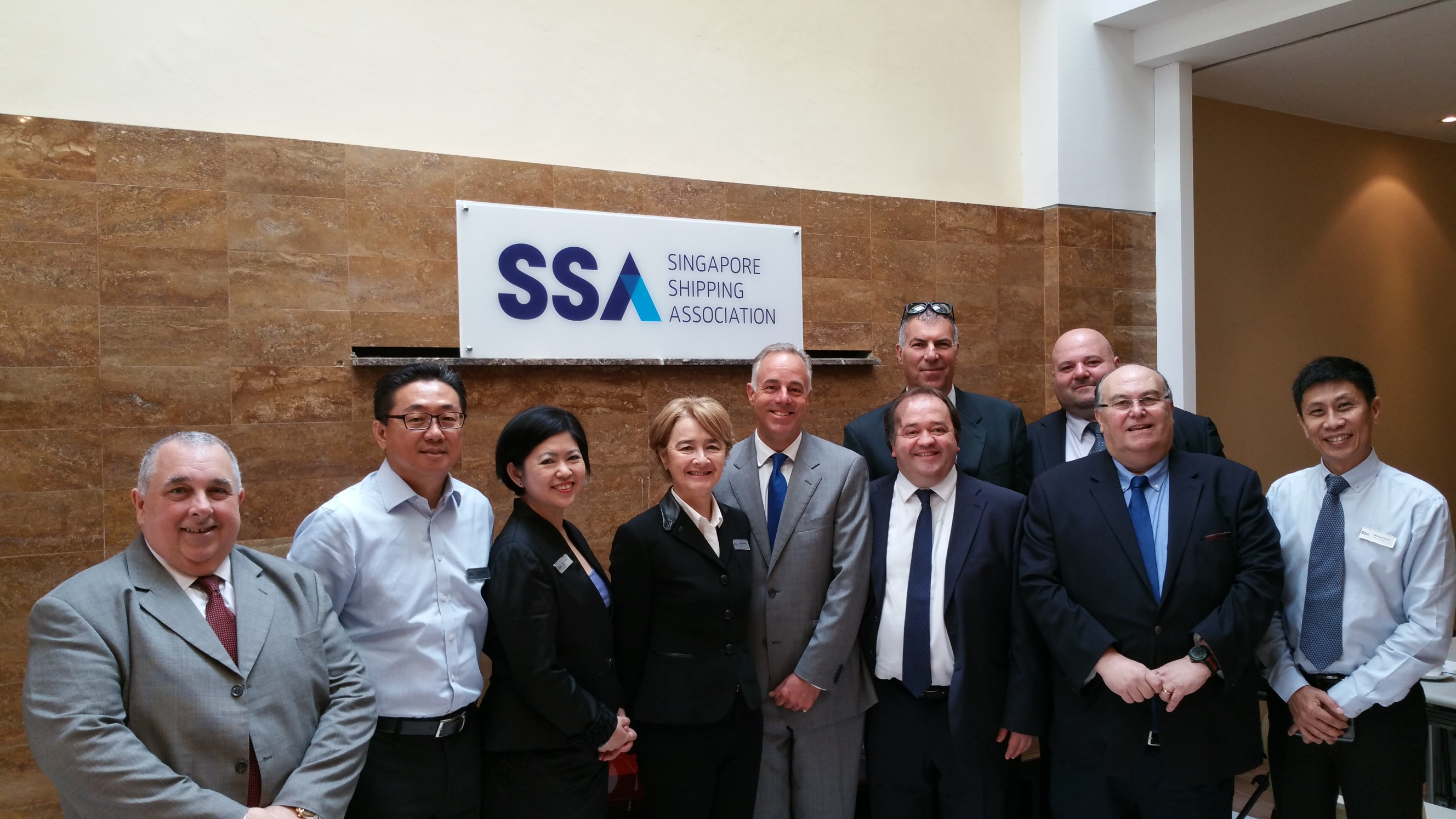 Council members of the Singapore Shipping Association with Gibraltar's Port Operators; First on left – George Dyke; Fifth from left – Commodore Bob Sanguinetti; Back, second from right – Danny Gabay; Back, first from right – Karl Alecio; Front, third from right – Tyrone Payas; Front, second from right – Freddie Pitto