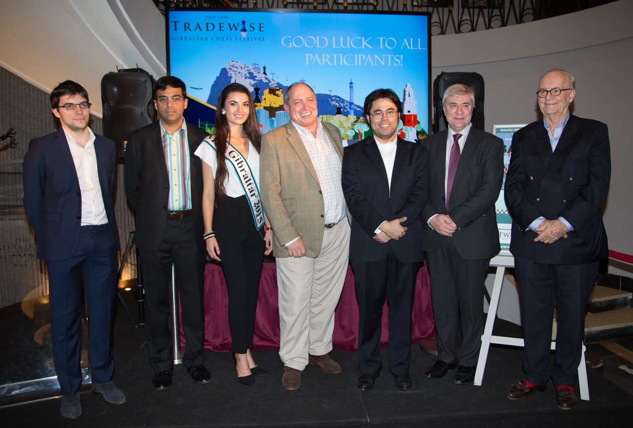 The top seeds in this years Tradewise Gibraltar International Chess Tournament, Hikaru Nakamura, Viswanathan Anand and Maxime Vachier-Lagrave, together with Miss Gibraltar 2015, tournament organisor Bruno Callaghan, Tradewise chairman James Humphreys and Minister for Culture Sport & Heritage Steven Linares. Photo: Sophie Triay.