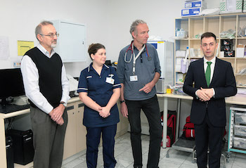 Dr Francis Heyes – A&E Consultant, Elaine Ferro – Sister at A&E, Dr Albrecht Kussner - Associate Specialist for A&E, Minister Costa