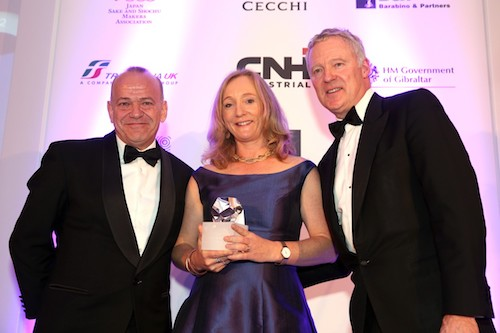 L-R Minister Albert Isola, Winner of the Gibraltar Prize Theodora Fairley of BBC News and Rory Bremner Compere of the Ceremony.